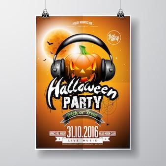 Vector Halloween Flyer partido con la calabaza y auriculares sobre fondo naranja. Murciélagos y luna.