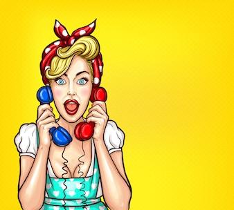 Vector ilustración de arte pop de una mujer rubia sorprendido emocionado con un receptor de dos teléfonos en su mano.