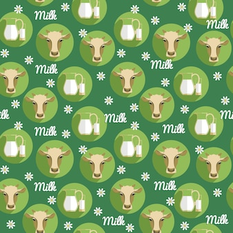 Vector ilustración de diseño plano de la vaca. Patrón transparente