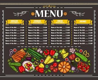 Vector ilustración de un menú vegetariano menú de diseño