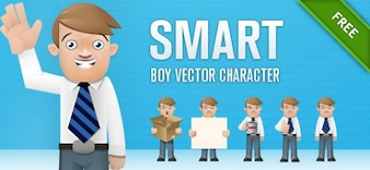 Vector inteligente muchacho del juego de caracteres