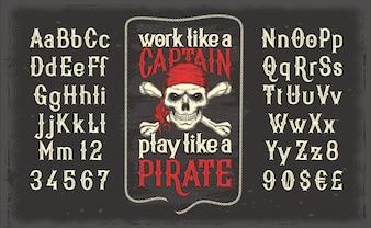 Vector la fuente blanca de la vendimia, el alfabeto latino con la impresión pirata retro con el cráneo y los crossbones