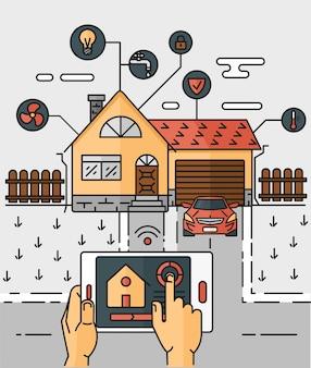 Vector línea de arte ilustración abstracta casa inteligente, controlando a través de equipos de trabajo en casa de Internet.