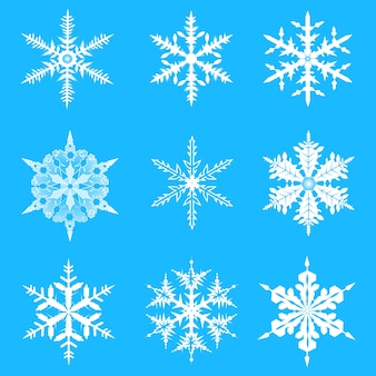 Vector los copos de nieve conjunto. Copos de nieve elegantes para la Navidad y diseño del Año Nuevo.