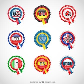 Vector medallas con banderas de países