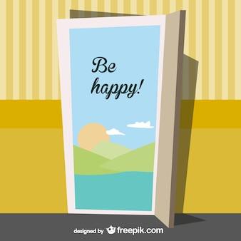 Vector mensaje sé feliz