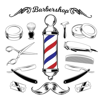 Vector monocromo colección barbería herramientas.