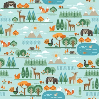 Vector patrón sin fisuras con la flora y la fauna del bosque.