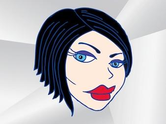 vector reacción Chica cara de dibujos animados