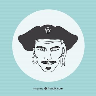 Vector retrato de pirata