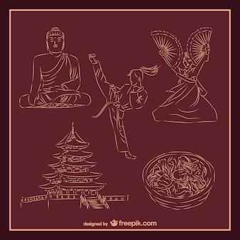 Vectores de cultura asiática y artes marciales