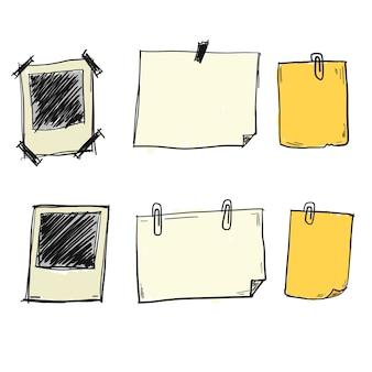 Vectores dibujados a mano de papel de nota