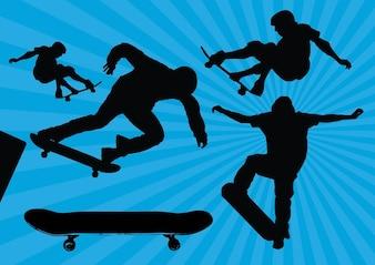 vectores silueta patineta