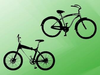 Vehículo de bicicletas esboza siluetas vector