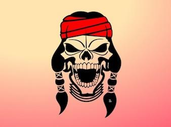 Venda principal vector nativo americano cráneo