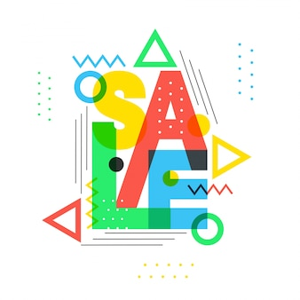 Venta colorida del texto con los elementos geométricos.