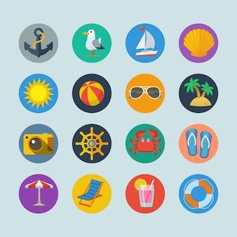 Verano mar, vacaciones, iconos, con, ancla, gaviota, yate, seashell, sol, bola, palma, aislado, vector