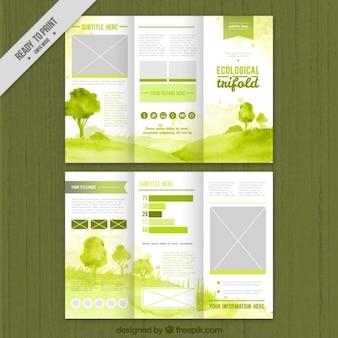 verde de la acuarela tríptico ecológica