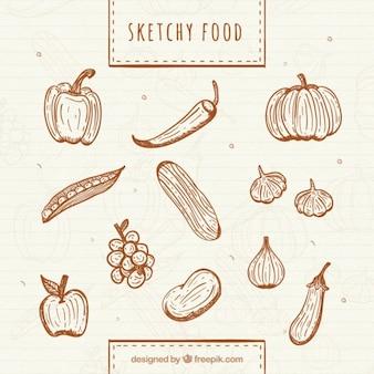 Verduras y frutas saludables dibujadas a mano
