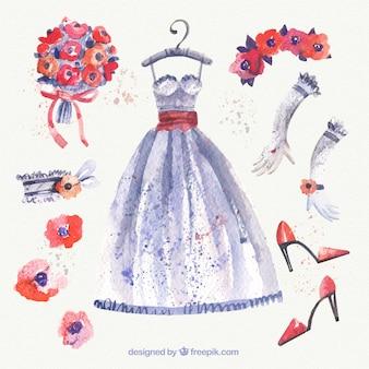 Vestido de novia de acuarela y accesorios