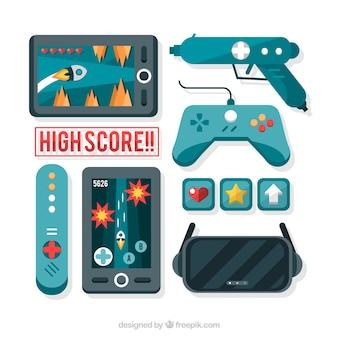 Videojuegos y mandos en diseño plano