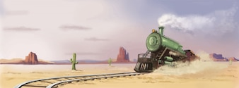 Viejo tren occidental pintado a mano ilustración vectorial