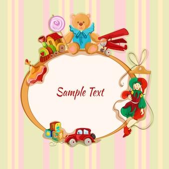 Vintage bebé juguetes marco de boceto tarjeta postal con clavija superior tren lollypop oso de peluche ilustración vectorial