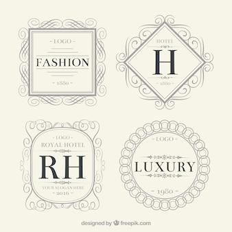 Vintage conjunto logotipo ornamentales