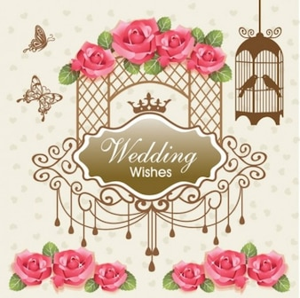 Vintage diseño de la tarjeta conjunto de vectores abstractos de la boda