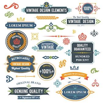 Vintage elementos de diseño marcos y adornos conjunto aislado ilustración vectorial