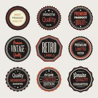 Vintage etiquetas, conjunto de divisas