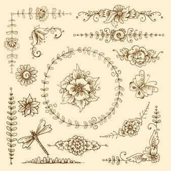 Vintage floral caligráfico elementos decorativos conjunto con flores y mariposas aislados ilustración vectorial