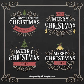 Vintage merry christmas labels with red details