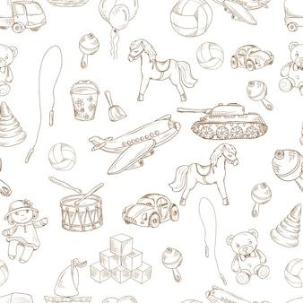 Vintage niños juguetes dibujo patrón sin fisuras con bloques globo saltar cuerda ilustración vectorial.
