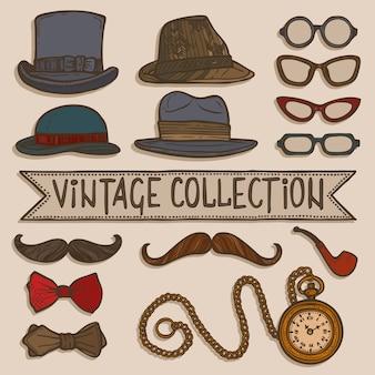 Vintage sombreros y gafas conjunto
