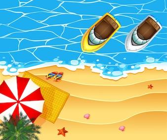 Vista aérea del océano con barcos flotando en el agua ilustración