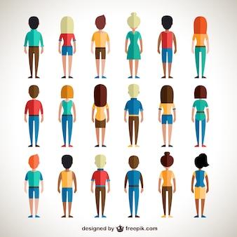 Vista de espalda de personas coloridas