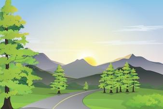 Vista de la carretera con la montaña, el campo verde y la salida del sol en el horizonte
