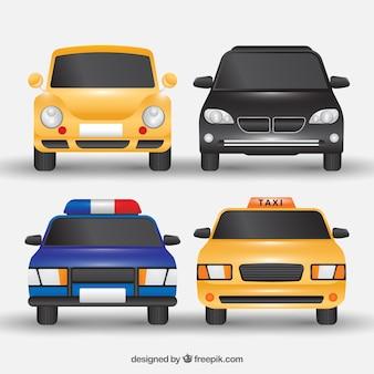 Vista frontal de cuatro vehículos realistas