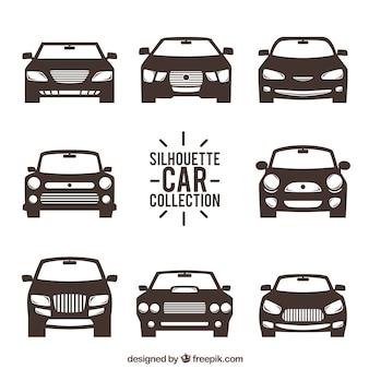 Vista frontal de siluetas de coches