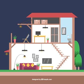 Vista interior de bonita casa en diseño plano