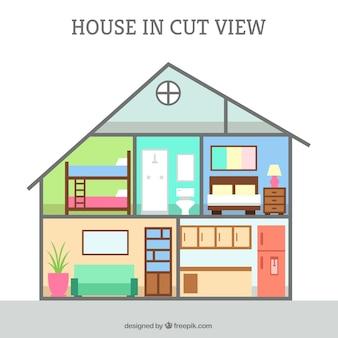 Vista interior de casa en diseño plano