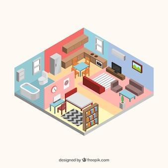 Vista interior de casa en estilo isométrico