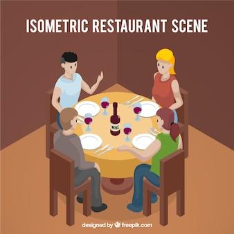 Vista isométrica de gente cenando en una mesa redonda