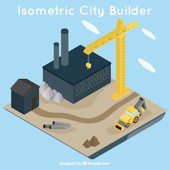 Vista isométrica de la construcción de un edificio
