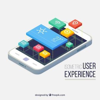 Vista isométrica de un teléfono móvil y botones para aplicaciones