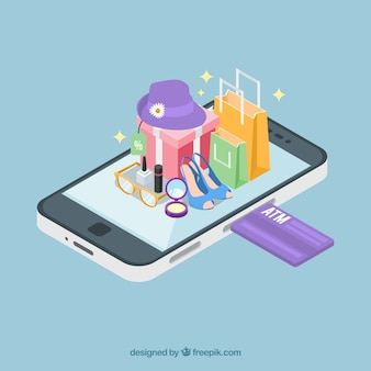 Vista isométrica de una aplicación móvil