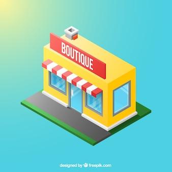 Vista isométrica de una boutique amarilla