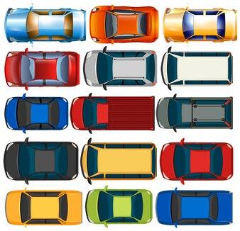 Vista superior de coches y camiones ilustración