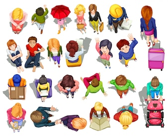 Vista superior de la gente que hace la ilustración de las actividades